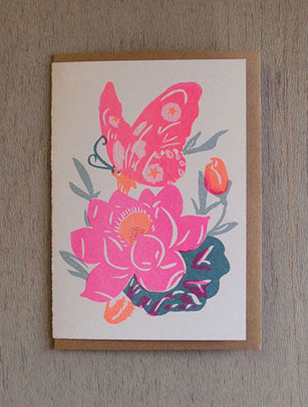 Pink Butterfly - Riso Papercut Card