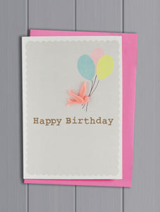 Grey Resin Bird Happy Birthday Card