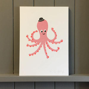 Pink Octopus Risograph Print