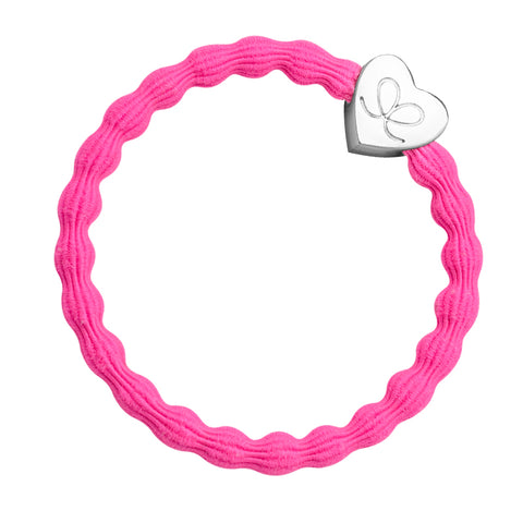 Bangle Band - Bright Pink, Silver Heart