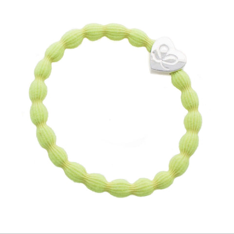 Bangle Band - Neon Yellow, Silver Heart