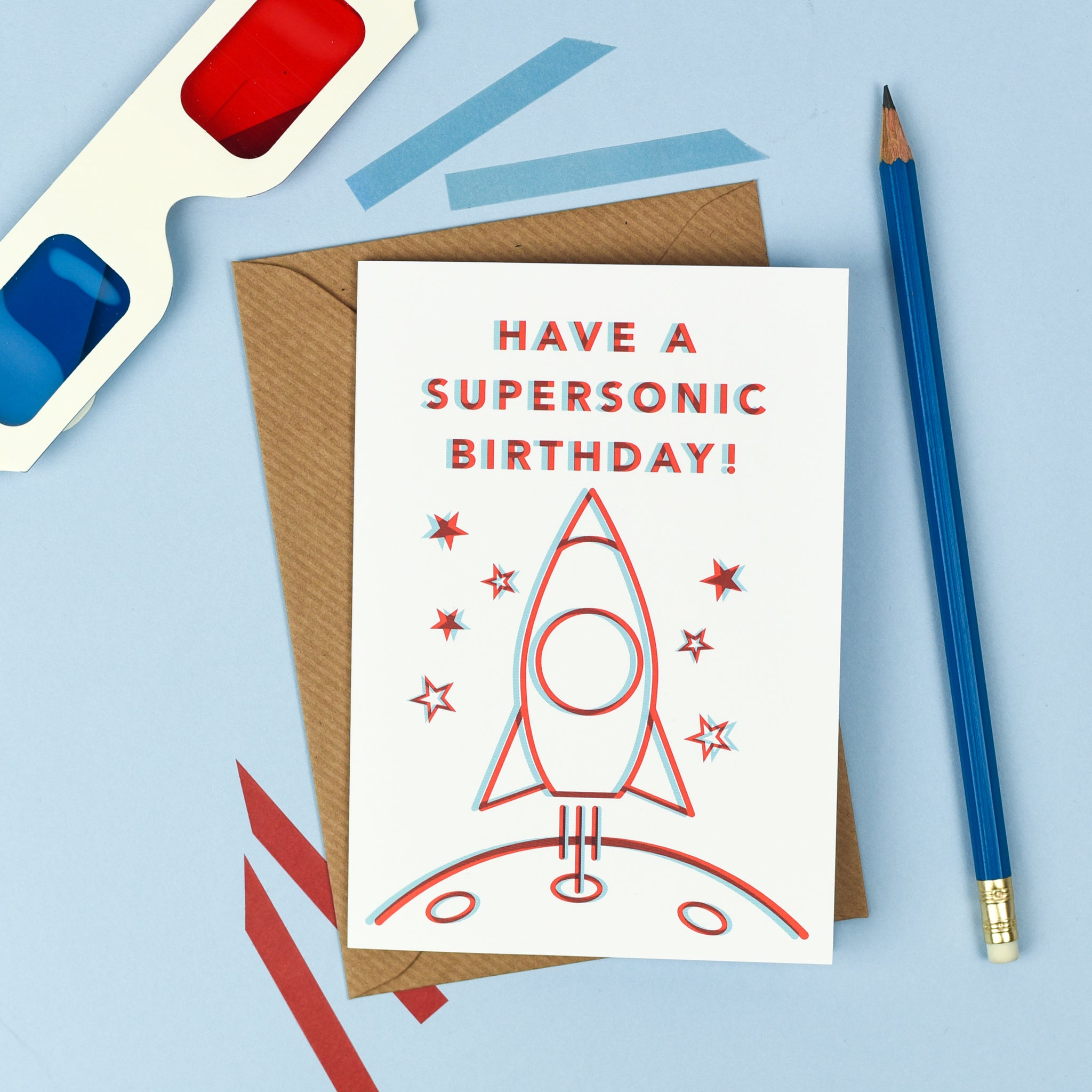 Supersonic 3D Happy Birthday Card