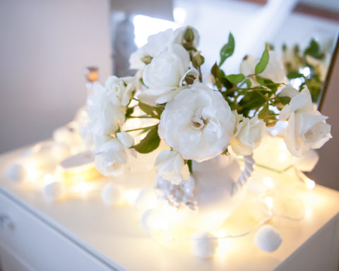 White Pom Pom Light Chain