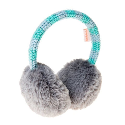 Blue Two-Tone Knit Earmuffs
