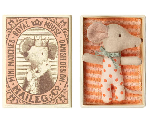 Sleepy/Wakey Baby Mouse Girl in Matchbox