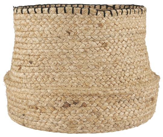 Natural Basket with Black Stitching