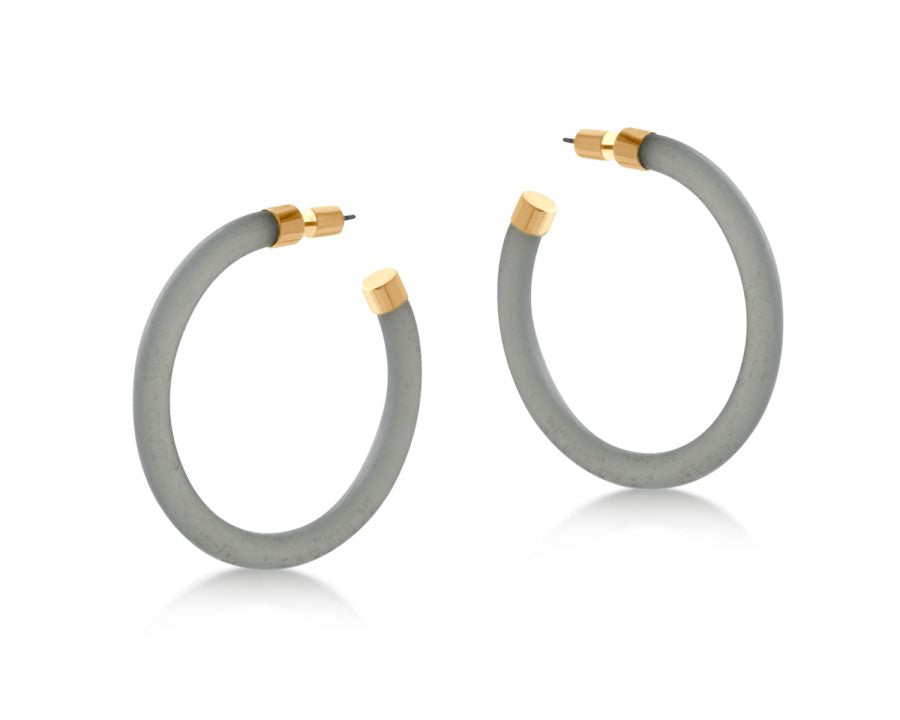Isabella Resin And Metal Hoop Earrings Large Grey