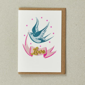 Valentines Bird and Ribbon Card