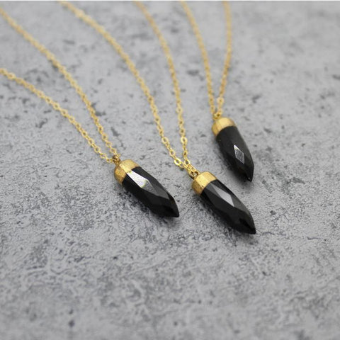 Black Onyx Spike Necklace