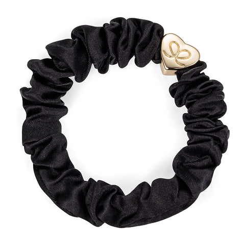 Gold Heart Charm Scrunchie - Black
