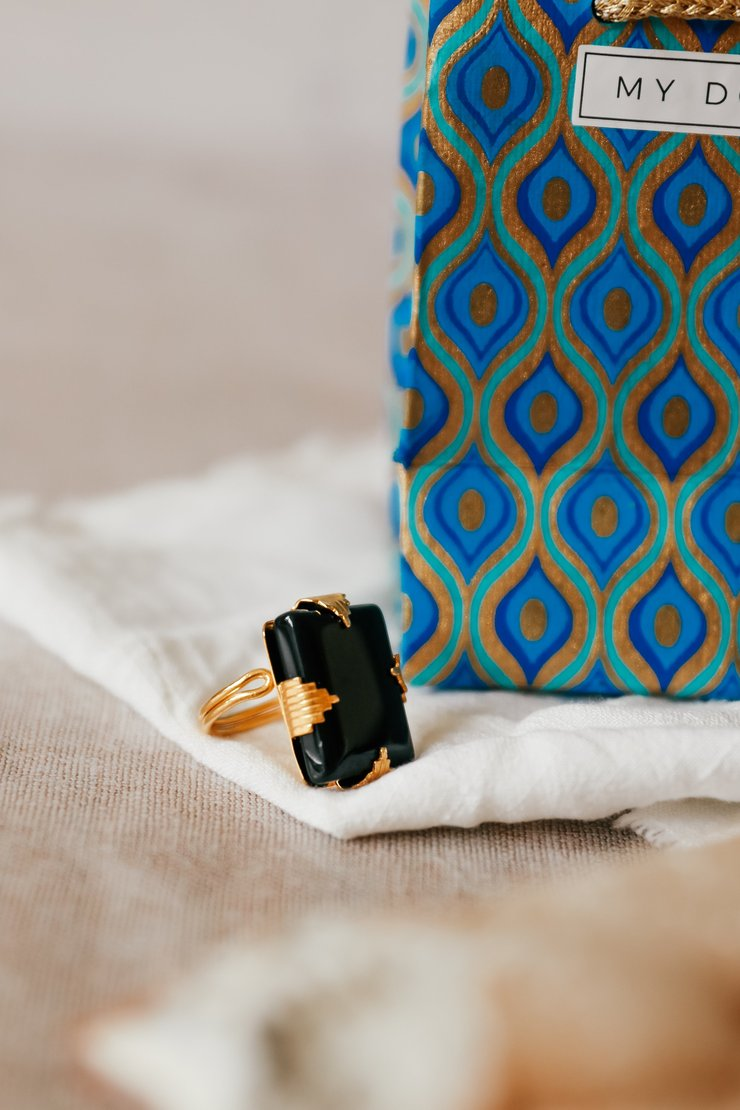 Art Deco Black Onyx Ring