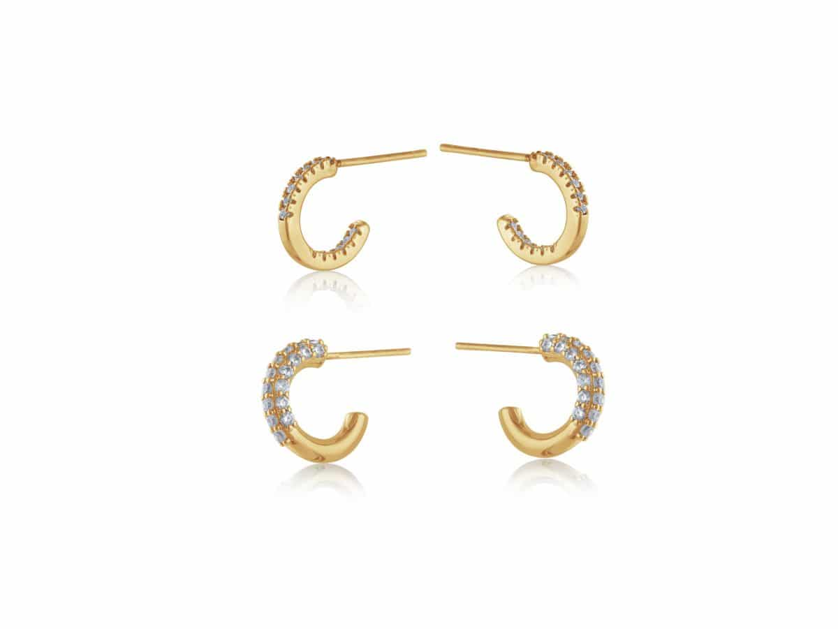 Camille Two Pairs of Gem Encrusted Hoops