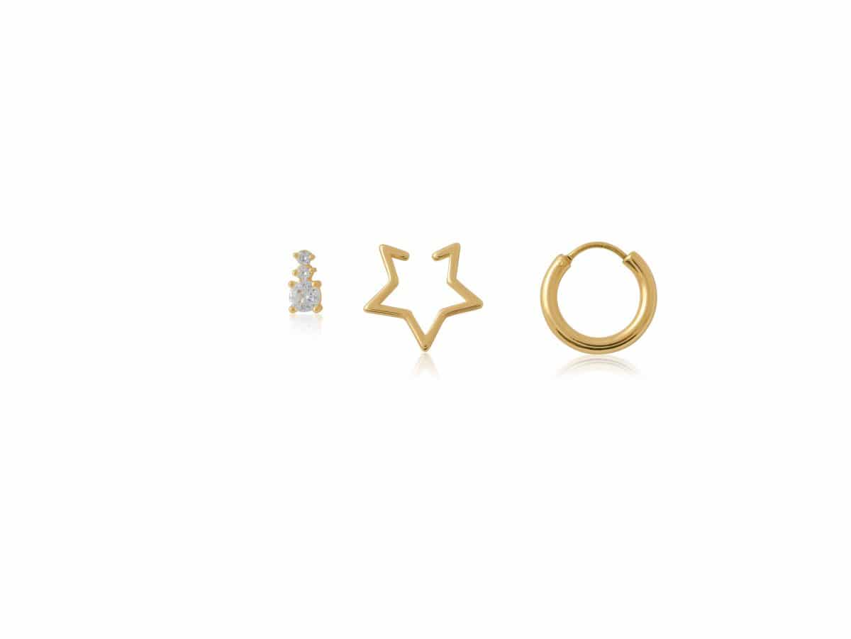 Marie Piercing Pack Of Stud, Earcuff And Huggie in Gold