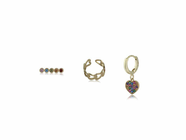 Estelle Piercing Pack Of Stud, Earcuff And Huggie in Gold