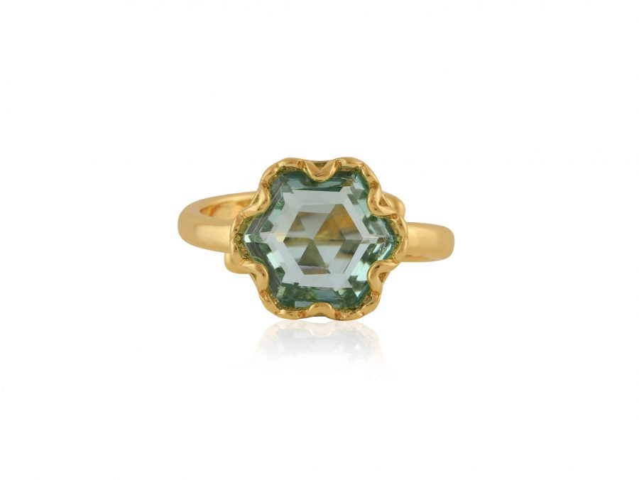 Fiona Hexagon Shape Gem Adjustable Ring in Gold and Blue