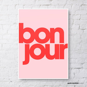 Bonjour Print - Red on Pink