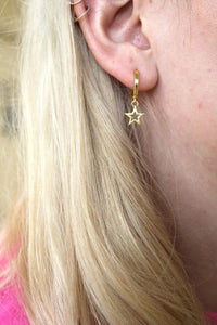 Brushed Gold Star Hoop