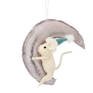 Felted Mouse on Silver Moon Hanging Decoration