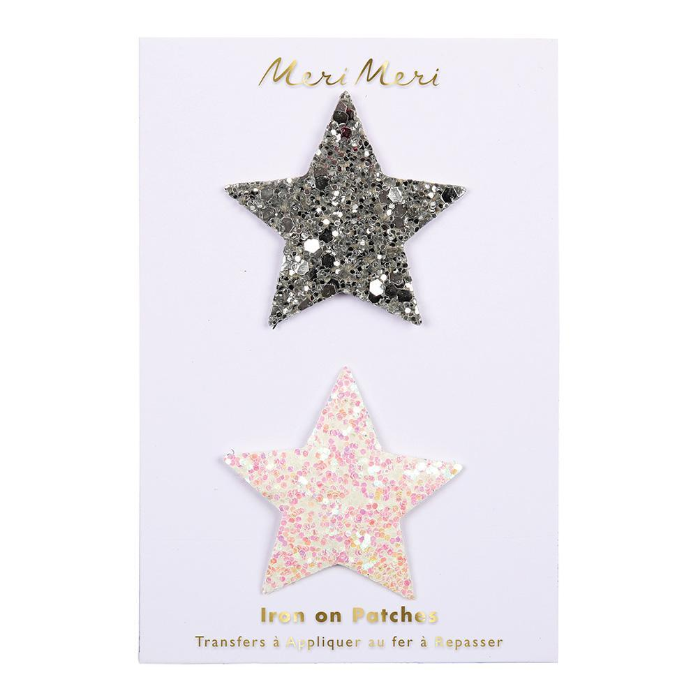 Glittery Star Iron On Patches