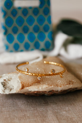 Hammered Gold Bangle With Crystals