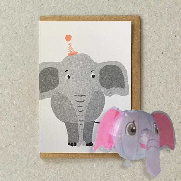 Paper Balloon Card - Elephant
