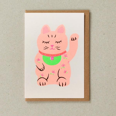 Riso Papercut Card - Lucky Cat