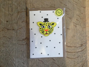 Top Hat Leopard Face Iron-on Patch Card