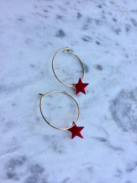 Hoops with Enamel Stars
