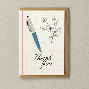 Iron-on Patch Card- Teal Pen (Thank You)