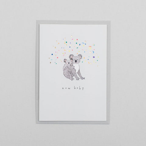 New Baby Koala Card with Gold Foil Confetti