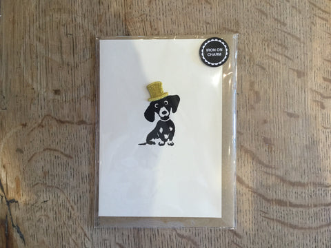 Top Hat Sausage Dog Iron-on Charm Card