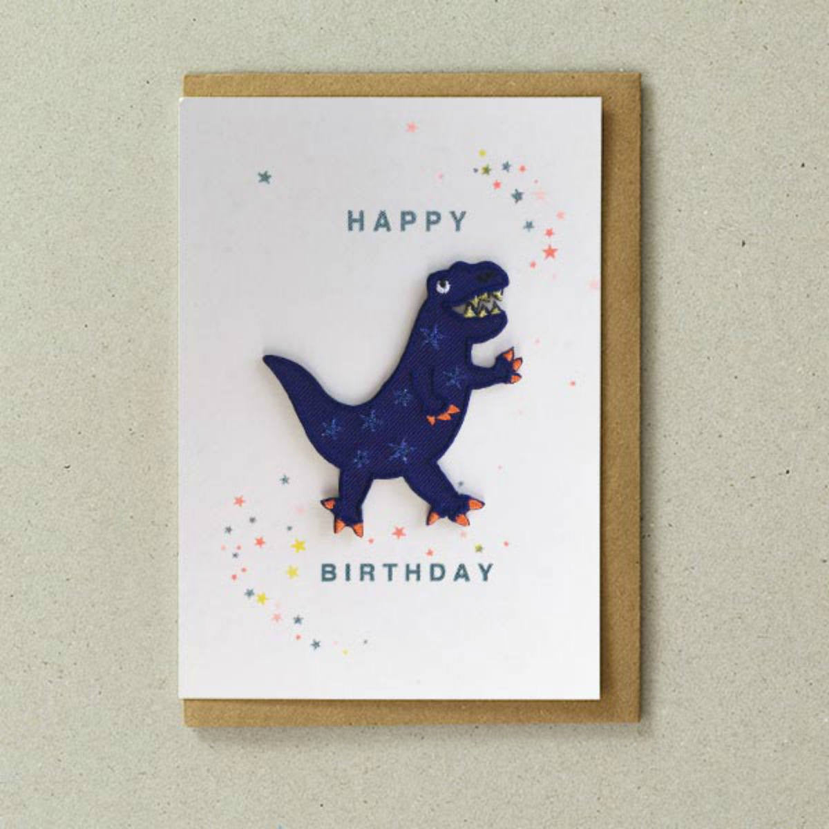 Iron on Patch Card - Happy Birthday Dinosaur