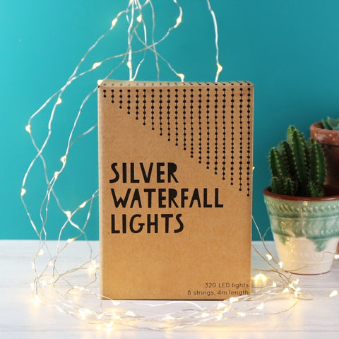 Mains Powered Silver Wire Waterfall String Lights