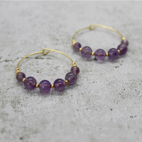 Semi Precious Stone Hoop Earrings