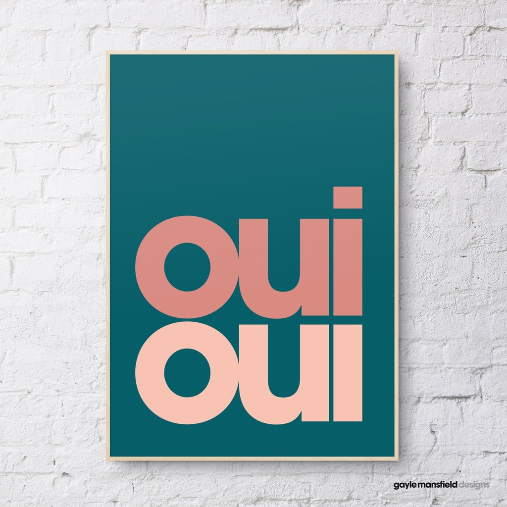 Oui Oui Print - Emerald Green with Peachy Pinks