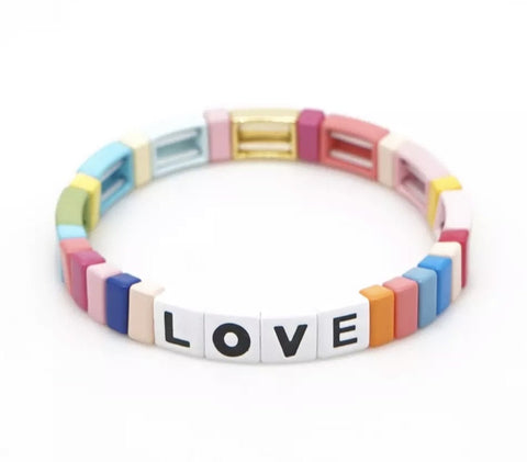 Love Tile Bracelet - Pastel Rainbow