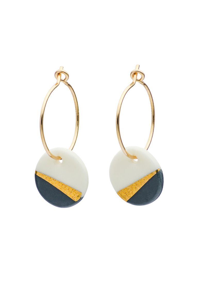 Porcelain Slate Gold Ray Earrings