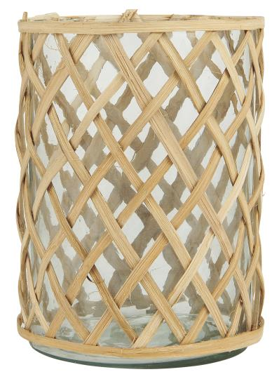Bamboo Cased Glass Pot