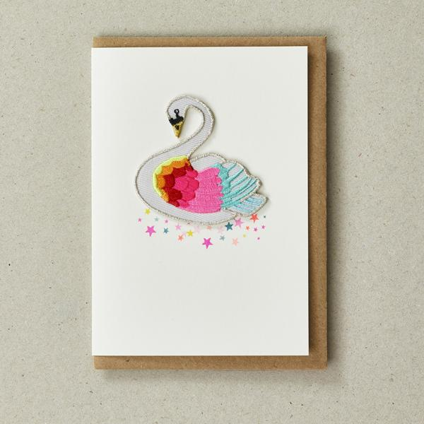 Rainbow Swan Patch Card