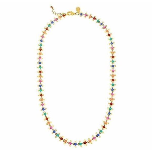 Rainbow Flower Dot Necklace