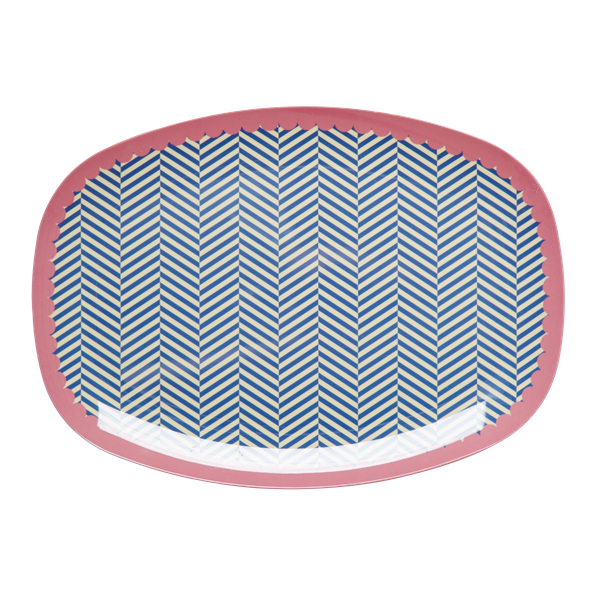 Rectangular Melamine Plate with Sailor Stripe Print