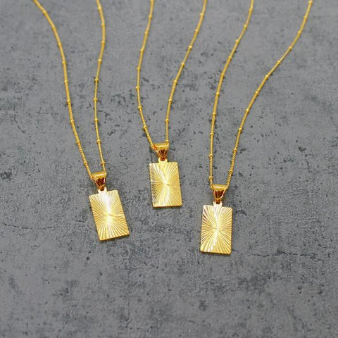 Gold Filled Rectangle Necklace
