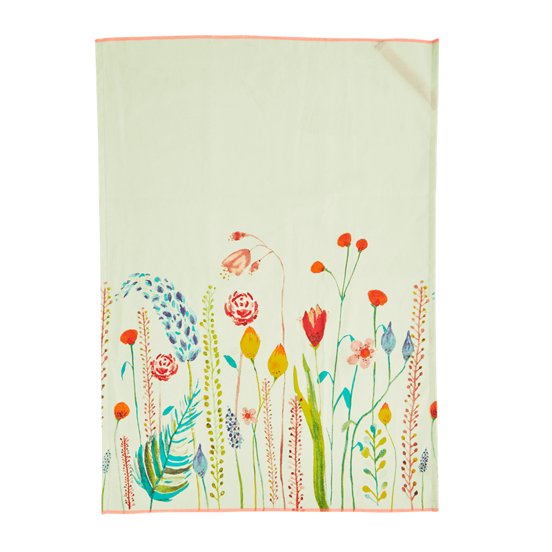 Cotton Tea Towel - Summer Flowers Print