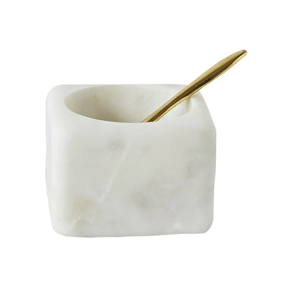 Salt Jar with Spoon - White Marble