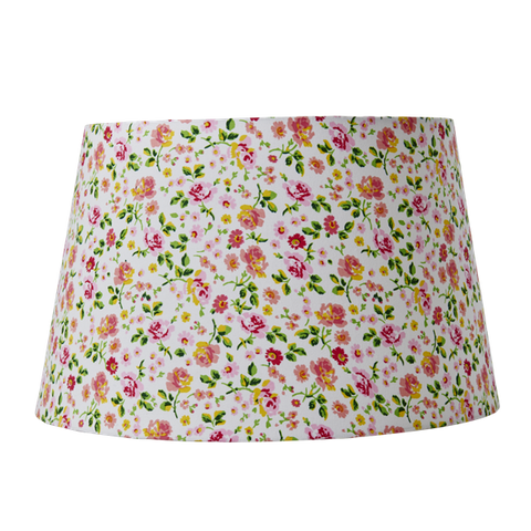 Large Lampshade in White with Small Floral Printed Fabric