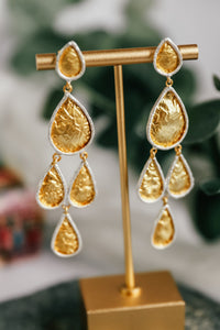 Multi Tear Drop Brushed Gold