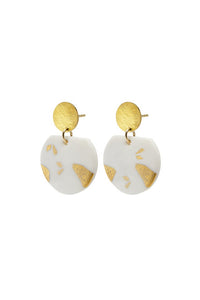 Porcelain Terazzo Earrings on Gold Studs