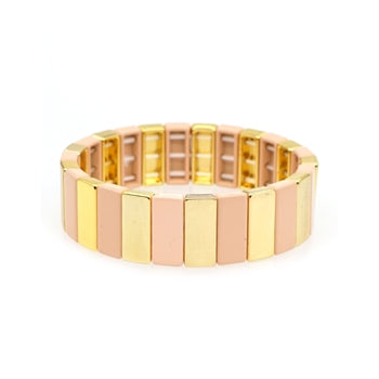 Blush Pink and Gold Tile Enamel Stretch Bracelet