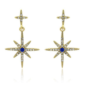 Drop Star Earring in Gold with Blue Crystal
