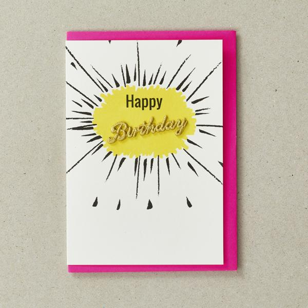 Yellow Happy Birthday Word Card